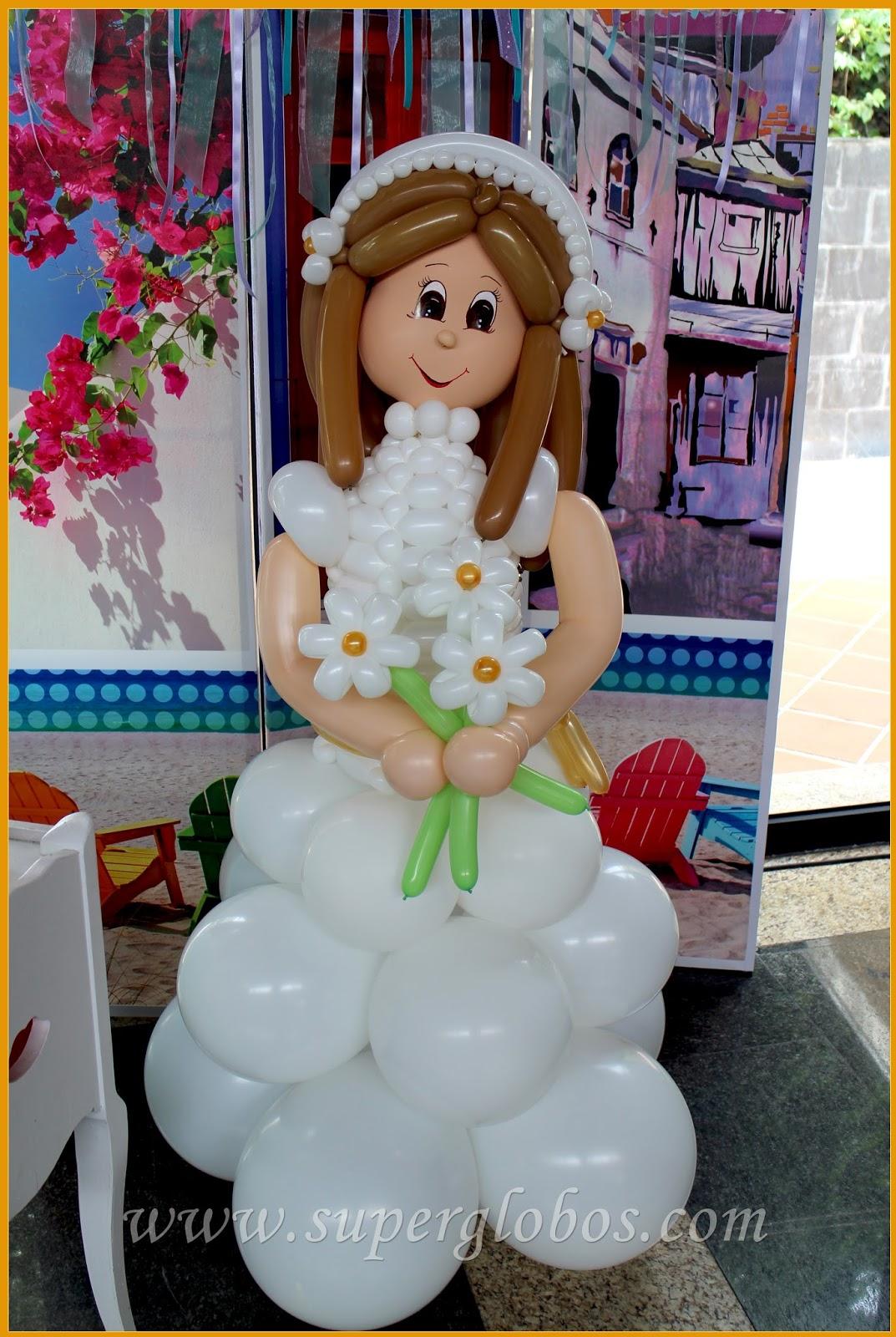 Decoraci n con globos comuniones 2016 decoraci n con - Hacer munecos con globos ...