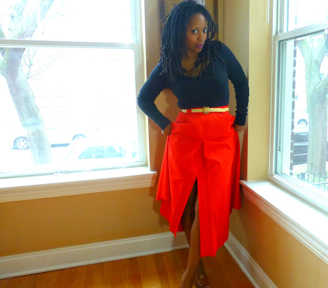 red 80s maxi skirt with black tee