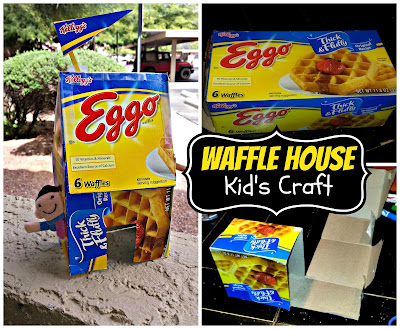 house kids craft using a recycled waffle box