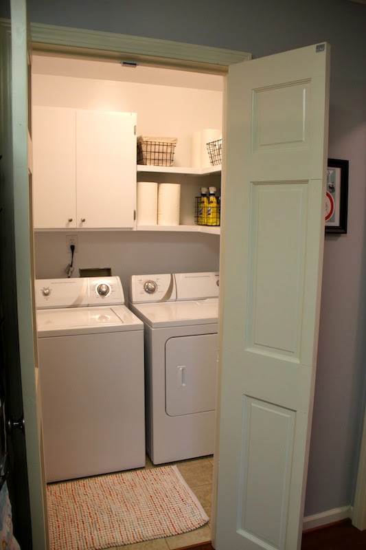 I Am So Pleased With How Our Little Laundry Room Turned Out Cutting The Door And Making It Into Double Doors Made Biggest Difference