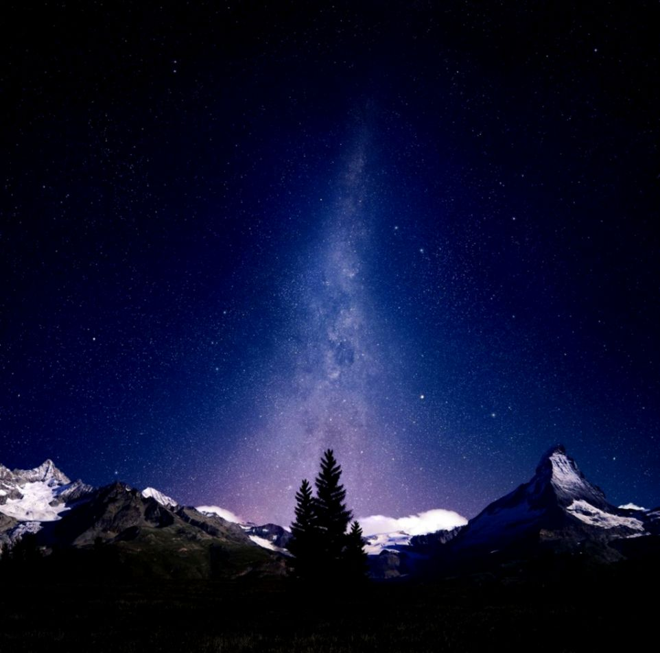 Night Sky Lights Over Snowy Mountains iPad Wallpaper Download