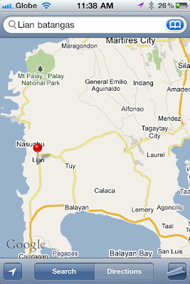 iPhone map to Lian Batangas