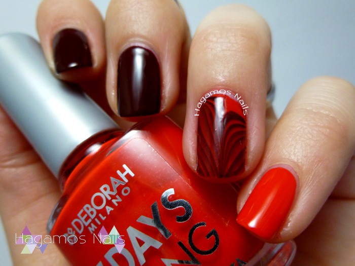 Nail art Rojo y Water marble. Hagamos Nails
