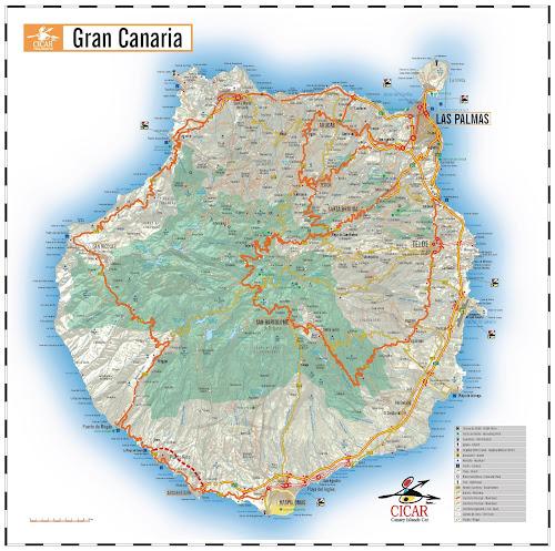 Mapa rodoviário de Gran Canaria - Espanha