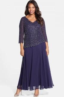 J Kara Embellished V-Neck Mock Two-Piece Gown (Plus Size)