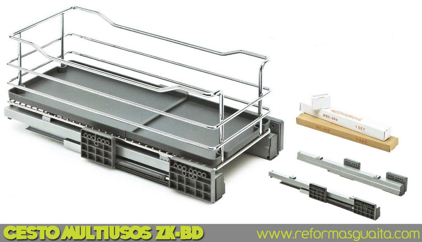 cesto multiusos zk-bd cocina metálico bandeja plástico verdulero guías extraíble organización puerta armario cuina