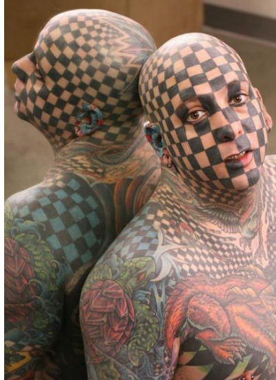 Checker Head Funny Tattoo Design