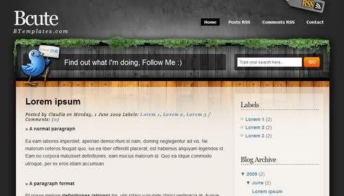 Free Blogger Brown Garden Bird Web2.0 Template