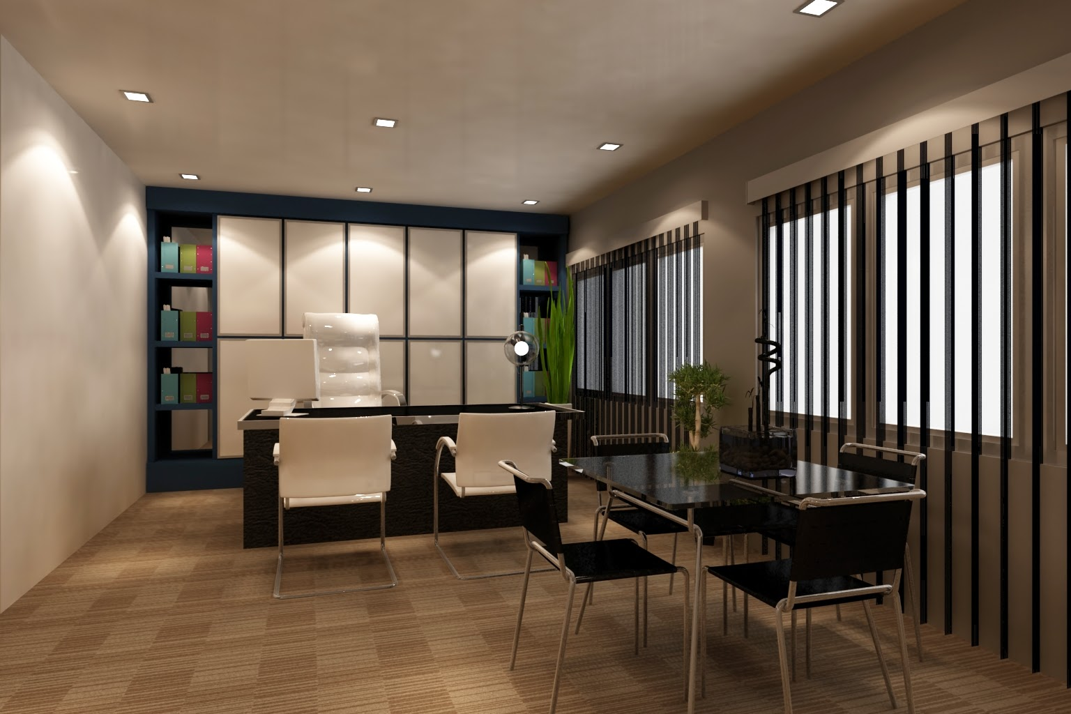 Foundation dezin decor office space in 3d model Office design 3d