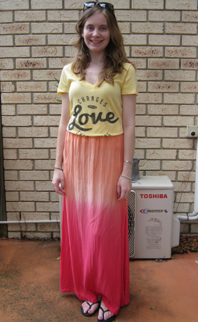 Ombre summer outfit seafolly maxi skirt yellow love tee