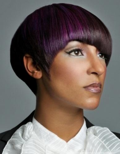 Glam Purple Hair Highlights 2014