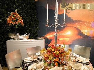 plotagem paisagem, arranjo floral, castiçal de prata, decoração