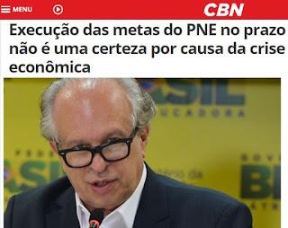 Ministro da Educação, Renato Janine Ribeiro, fala a CBN sobre a execução das metas do PNE para os proximos 10 anos no Brasil