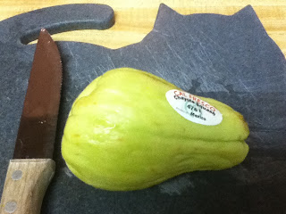chayote on chopping board