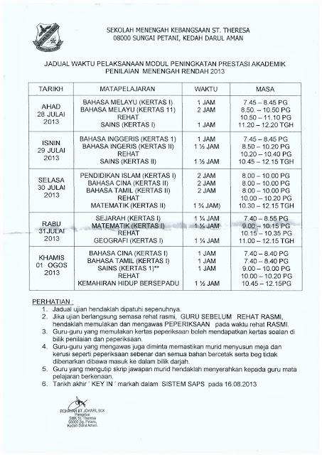 JADUAL PENINGKATAN PRESTASI AKADEMIK/ PERCUBAAN PMR 2013