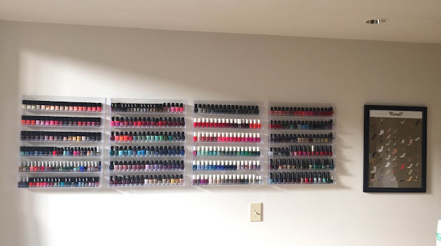 nail polish storage, nail polish stash, The Beauty of Life nail polish storage, Chanel, RGB Cosmetics, Rescue Beauty Lounge, butter LONDON, Zoya, Essie, Deborah Lippmann, OPI, China Glaze, nail polish, nail lacquer, nail varnish, #ManiMonday, manicure, nail polish racks, Sex and the City Carrie shoes print