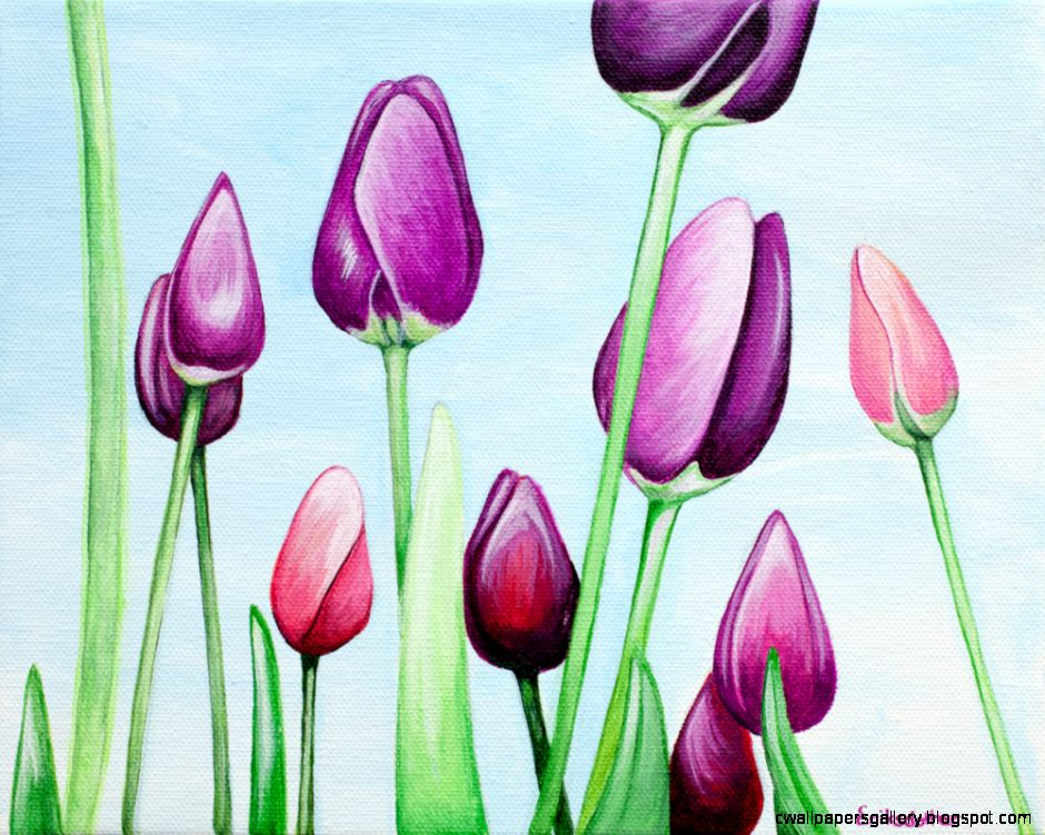 Field of Purple Tulips – Spring Art Auction 2013 – Painting No 6