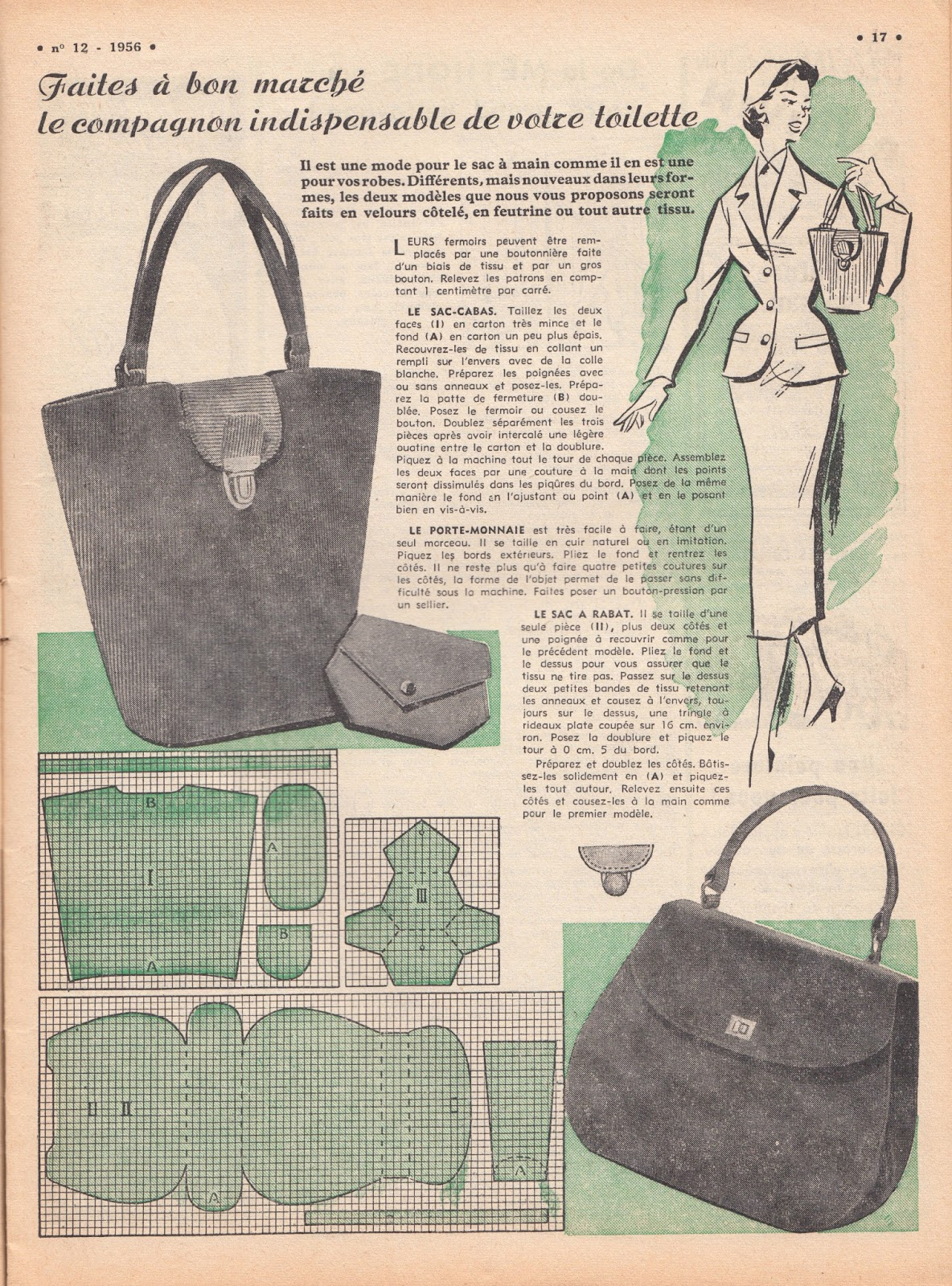 Pursepatterns : ... Few Threads Loose: Sew French... March, 1956 and a free purse pattern