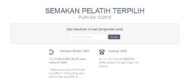Semakan online PLKN 12/2015 senarai nama pelatih