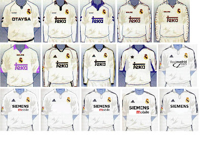 Las ultimas 10 camisetas del Real Madrid