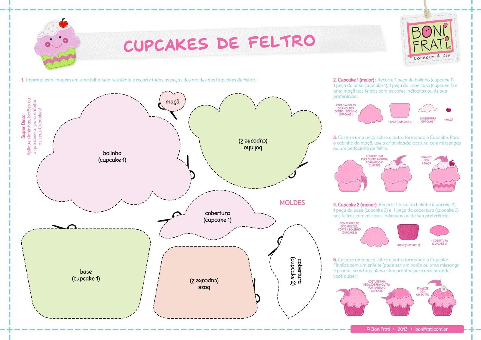 moldes cupcakes de feltro