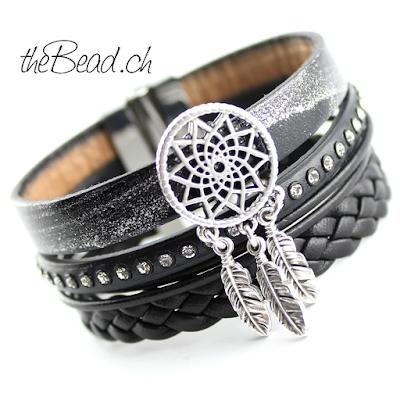 Verschluss Gravur Armband mit Dreamcatcher Traumfänger Lederarmband in schwarz mit magnetverschluss