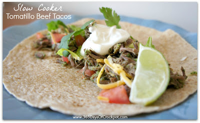 Recipe for CrockPot Tomatillo Beef Tacos #crockpotrecipe #easydinner