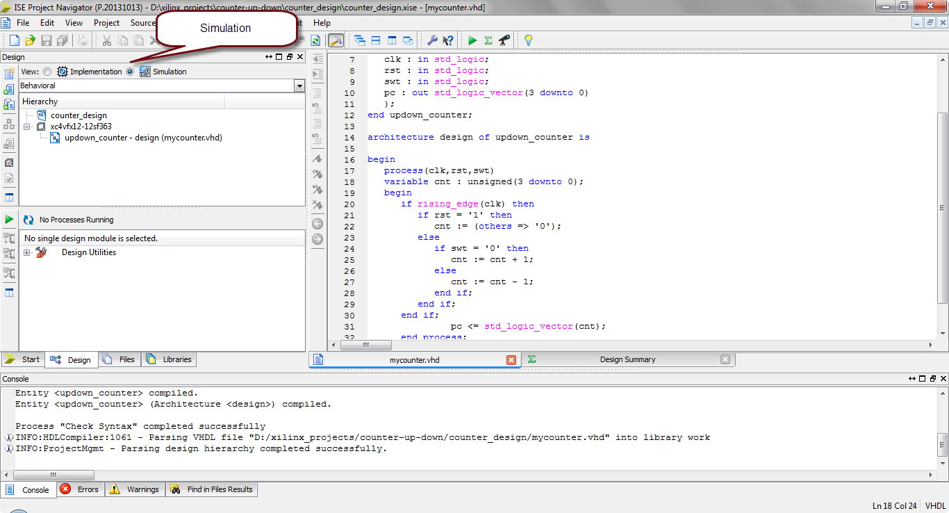 how to simulate vhdl code in xilinx?12