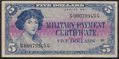 Military Payment Certificate 5 Dollars MPC Series 591 Miss Ann Izzard