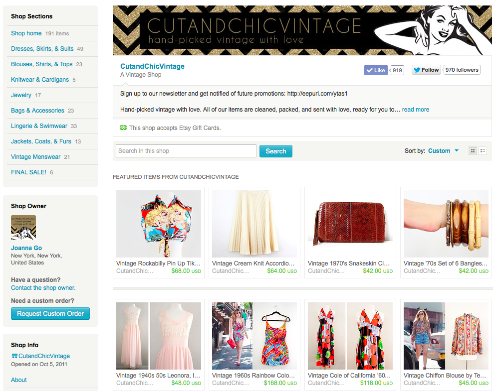 Get 25% off the CutandChicVintage Boutique on Etsy