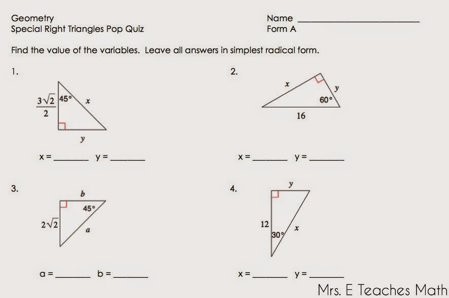 30 60 90 Triangle Worksheet With Answers Rringband – Special Right Triangles 45 45 90 Worksheet