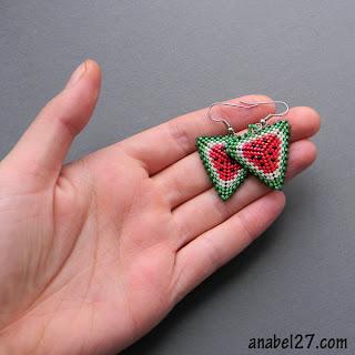 купить серьги из бисера арбузы яркие летние украшения подарок девушке