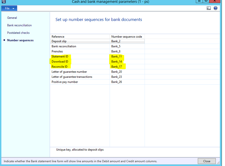 AX World Setup and configuration Bank Statement Upload for MT940 – Bank Statement Reconciliation Form