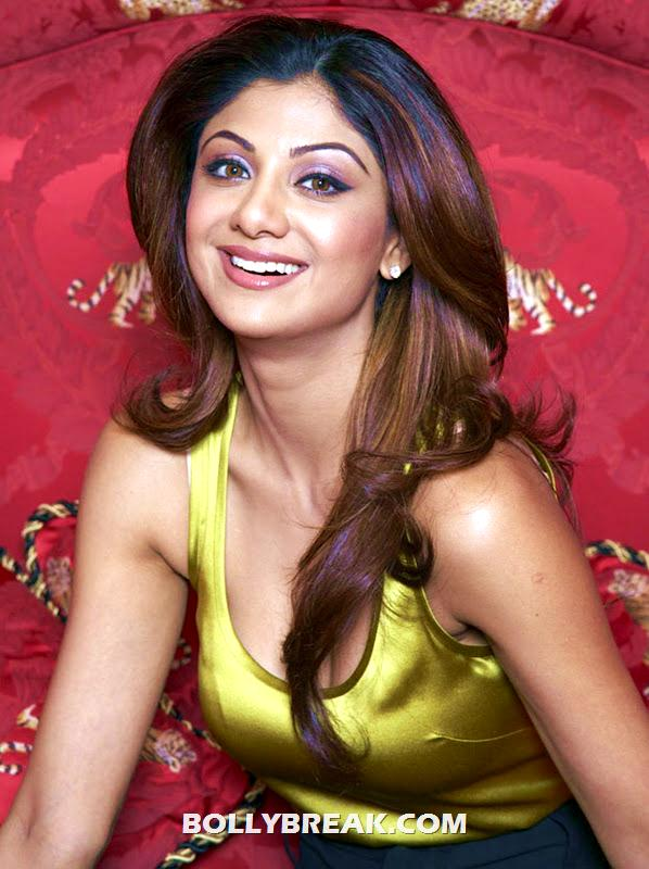 Shipa Shetty Smiling close up - (2) - Shilpa Shetty yellow silk tanktop photos