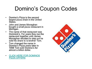 Domino's pizza coupon code 2018