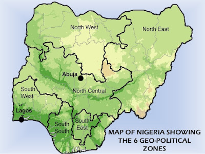 Map of Nigeria's geo-political zones