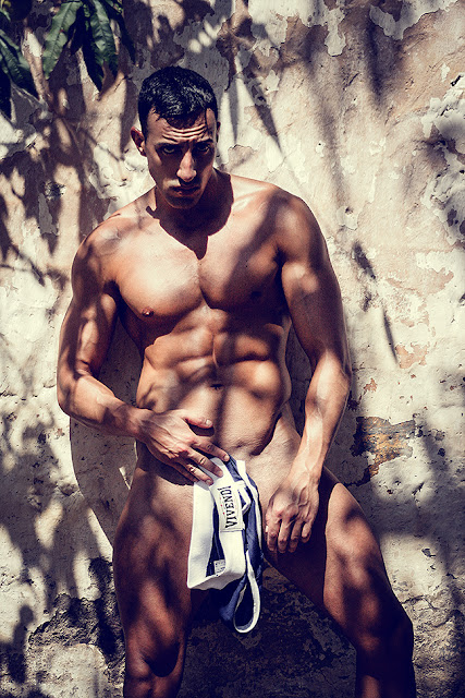 Sexy model Fran Gonzalez by Adrian C. Martin in Army Brief Modus Vivendi underwear