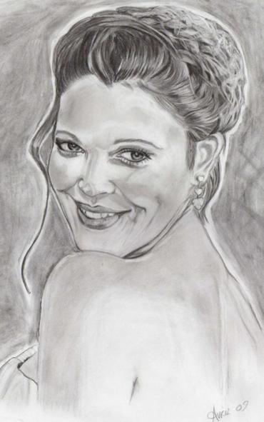 Rostro de Drew Barrymore en retrato