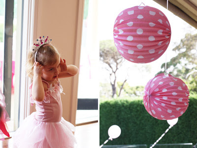 Pink Fairy Princess Birthday Party polka dot balloons