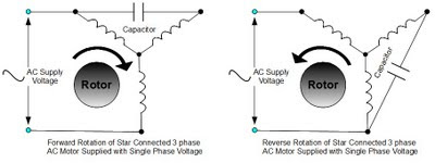 Forward and Reverse Rotation of a Star Connected 3 Phase AC Motor Powered by Single Phase Supply Voltage