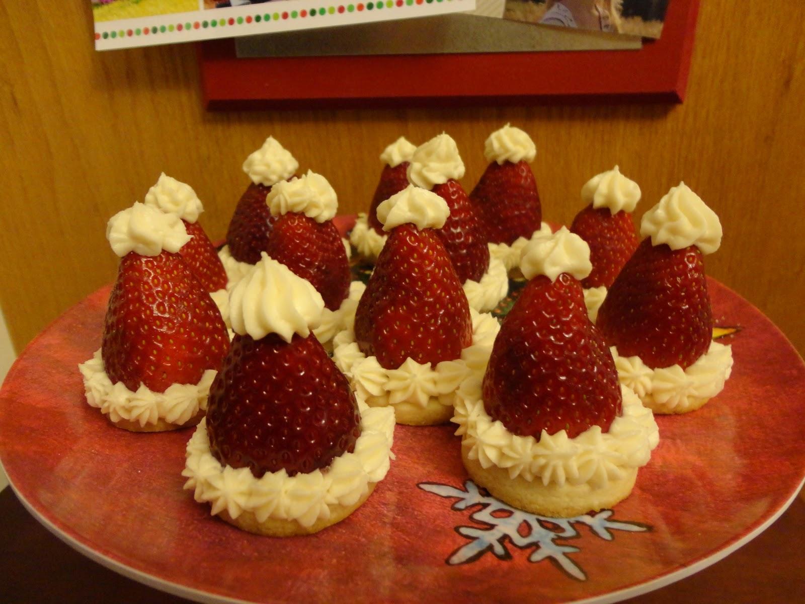 Strawberry Santa Hat Cookies