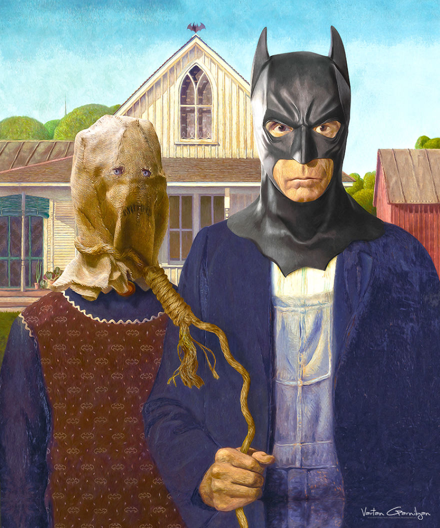 04-American-Gothic-Grant-Wood-Vartan-Garnikyan-Works-of-Art-Paintings-Batman-and-Joker-Themed-www-designstack-co