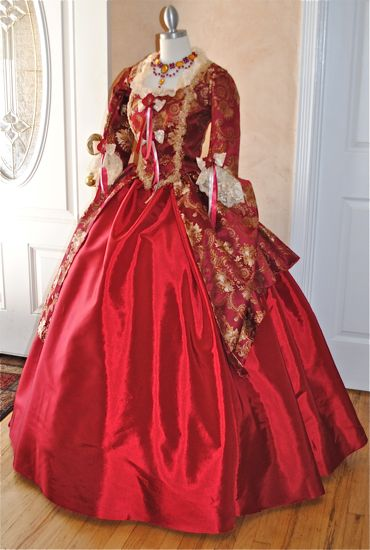 Royal Red and Gold Victorian Costume Dress