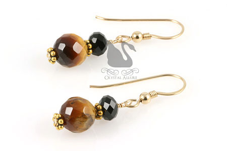 Black Crystal Tiger Eye Gemstone Beaded Earrings (E181)