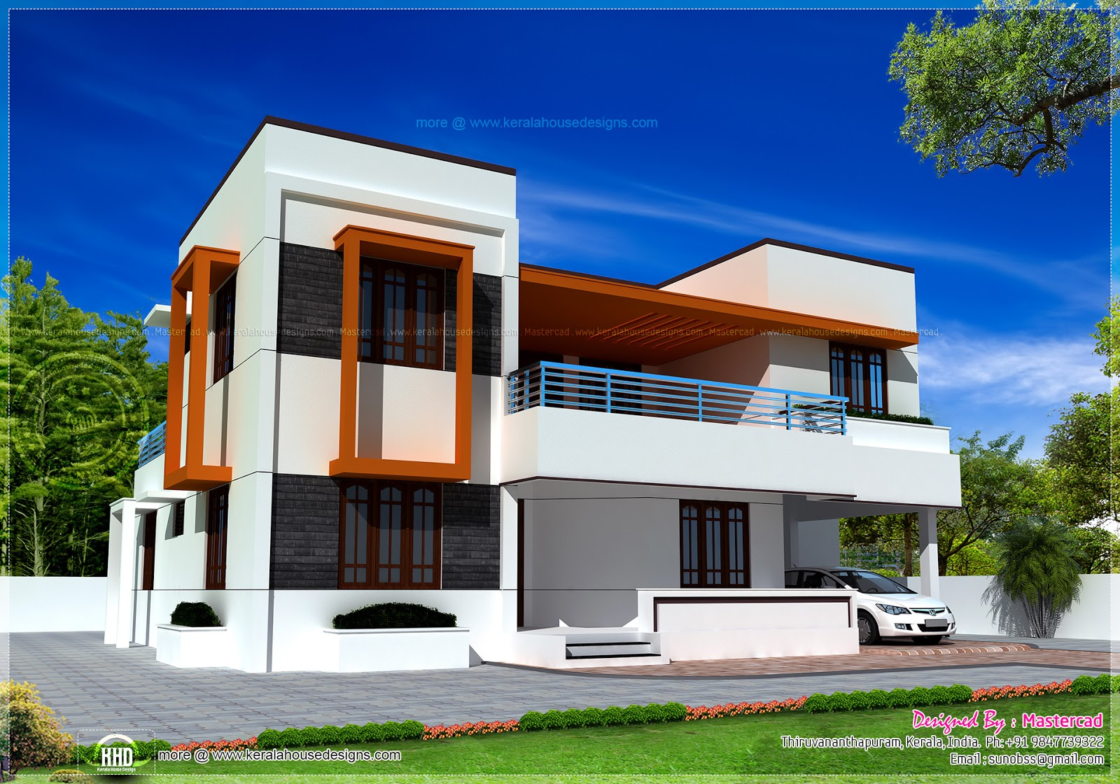 4 Bedroom Flat Roof House In 2548 Sq Ft Kerala Home Design And Floor Plans
