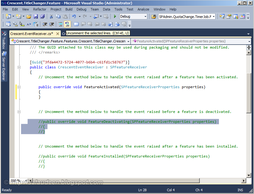 how to create sharepoint feature in vs 2010
