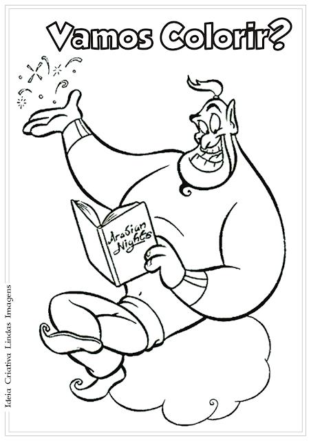 Aladdin e Gênio desenho para colorir