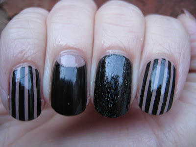 Black and nude stripes nail art