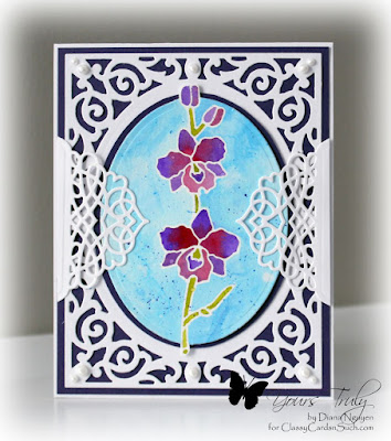 Diana Nguyen, Elizabeth craft design, watercolor, outline sticker, filigree Delight, tranquil moments, card