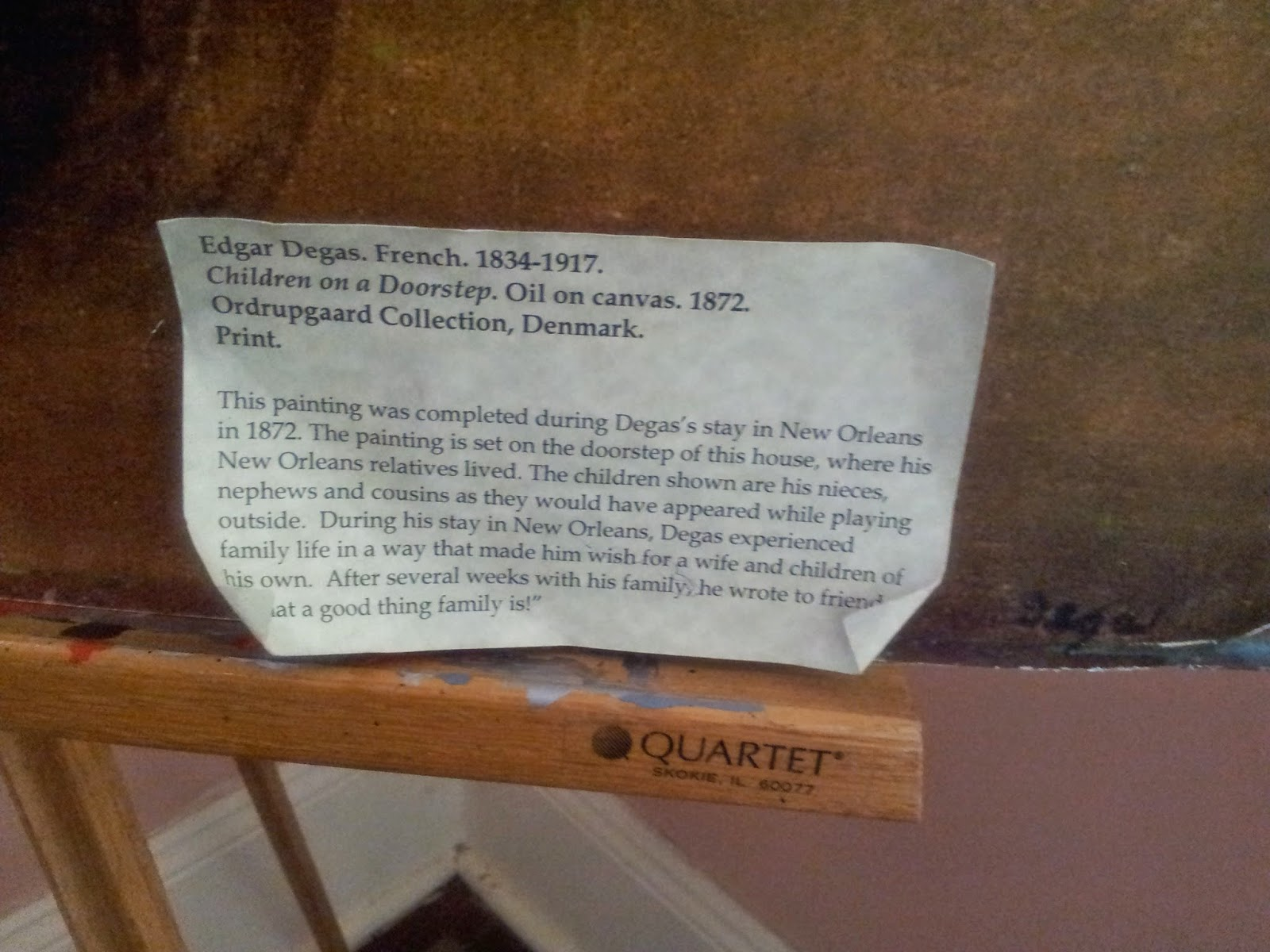 Description of Painting by Edgar Degas - 'Children on a doorstep'  at Degas House, New Orleans